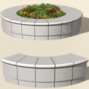 Круглая бетонная клумба