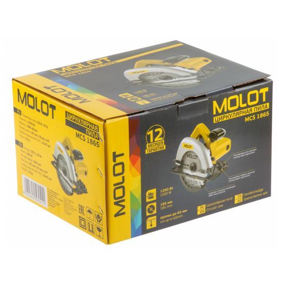 Циркулярная пила MOLOT MCS 1865 в кор. (1200 Вт, 185х30 мм, до 65 мм) (MCS186500029)