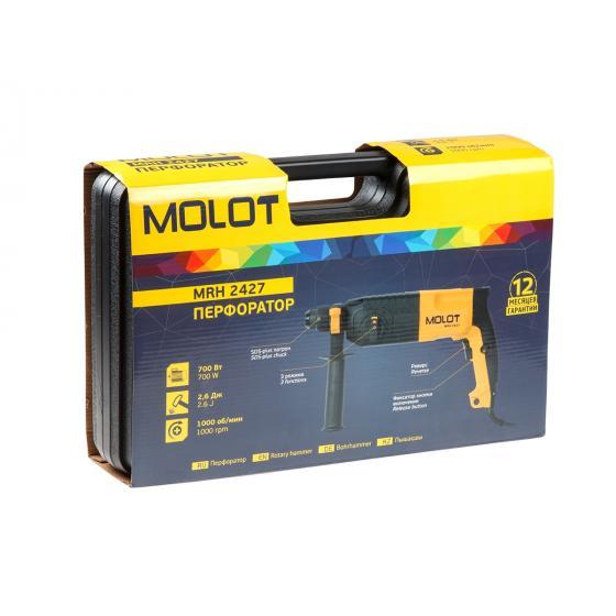 Перфоратор MOLOT MRH 2427 в чем. + (2 зубила, 3 сверла) (700 Вт, 2.6 Дж, 3 реж., патрон SDS-plus, вес 2.8 кг) (MRH242700027)