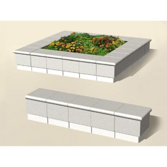 Квадратная бетонная клумба