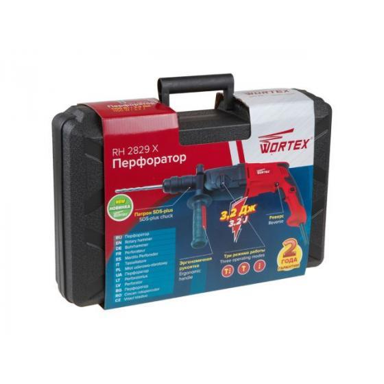 Перфоратор WORTEX RH 2829 X в чем. + (2 зубила, 3 сверла) (1100 Вт, 3.2 Дж, 3 реж., патрон SDS-plus, быстросъемн., БЗП в комплекте, вес 3.2 кг) (RH282