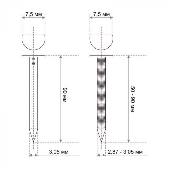 Реечные гвозди 34 градуса 3.05x90 мм гладкие гальванизированные // ТехМаш 2000шт