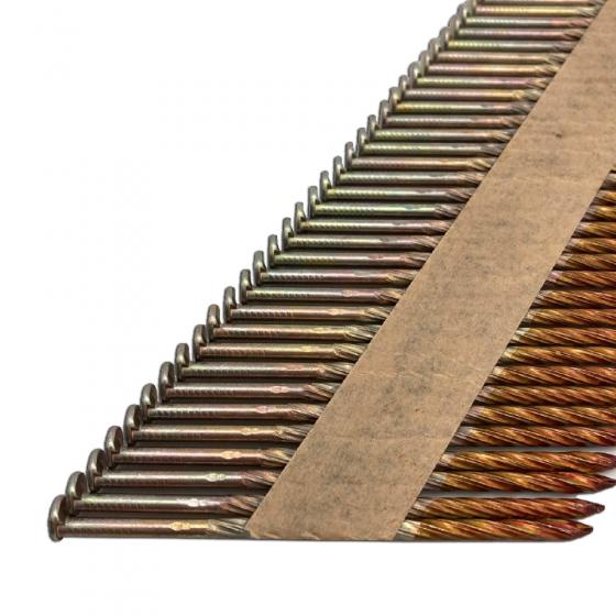 Реечные гвозди 34 градуса 3.05x90мм / 2000шт с винтовой накаткой оцинкованные